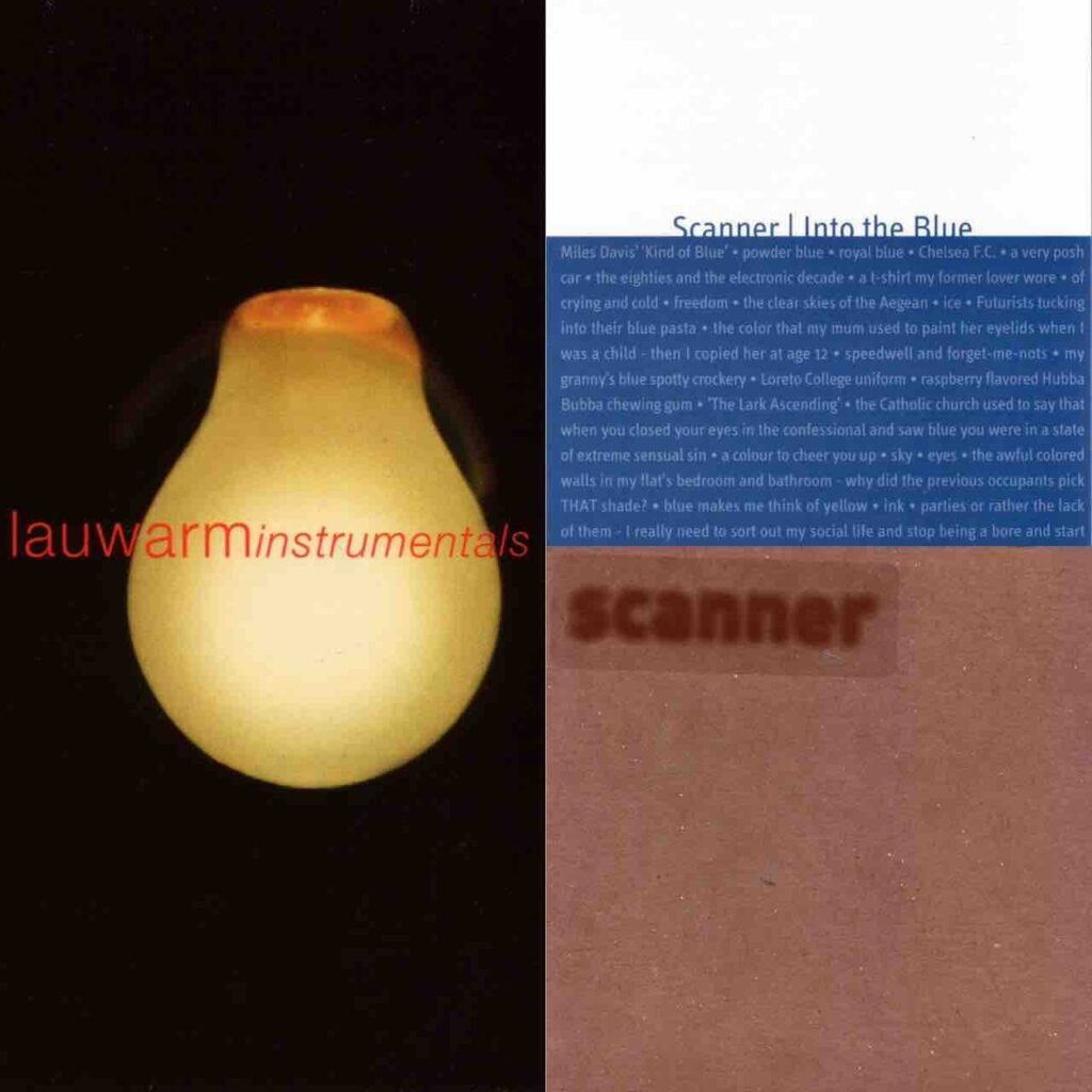 Artwork of three Compact Discs combined into one image. A lightbulb on the left in a black room, and to the right of this texts that report Into the Blue and Scanner on blue and brown backgrounds