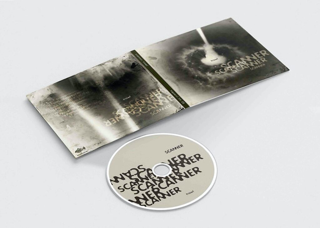 A compact disc cover and disc on a white background. Grey and black and white, no colour at all. Scanner Trawl text is repeated across the cover artwork